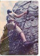 Rock Climbing Photo: My brother Tom leading a route (Devil's Pulpit?) a...