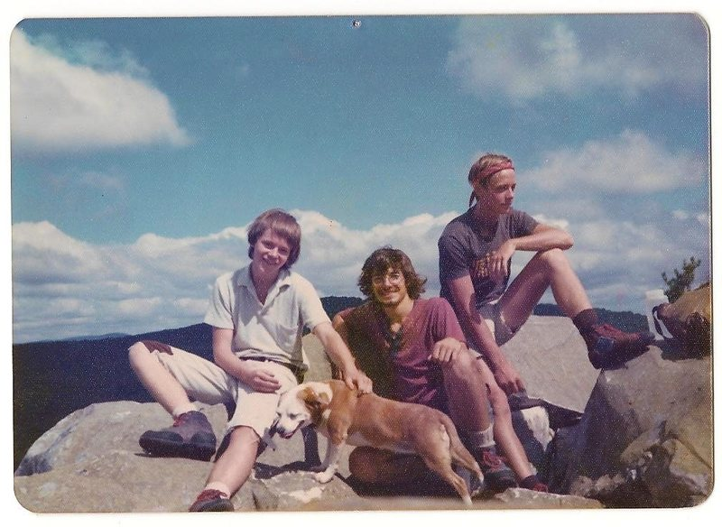 Tom on left, Guy Keene, myself, and our dog Poky who went with us everywhere!