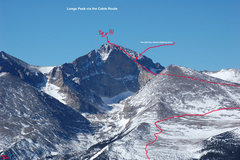 Long's Peak, as seen from the Twin Sisters, w/the route roughly sketched.