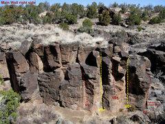 Rock Climbing Photo: Main Wall right side topo