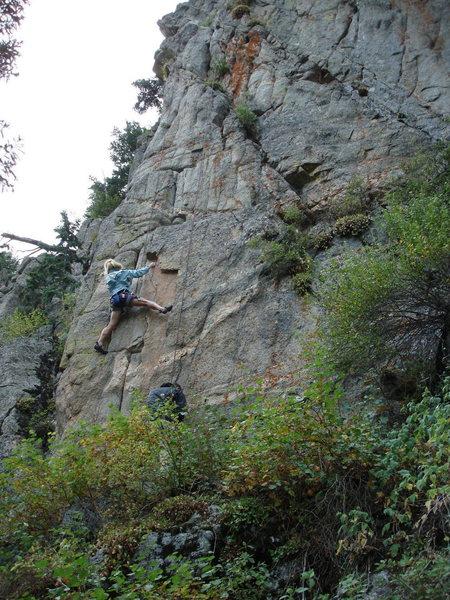 Rock Climbing Photo: Carol performing magic on Variation 2, 8-29-09.