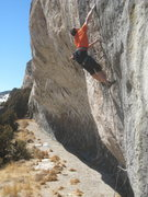 Rock Climbing Photo: Sticking the redpoint crux of Smoke Shapes.