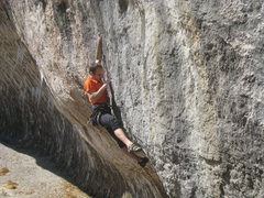Rock Climbing Photo: The techy headwall begins with a long crank to a m...