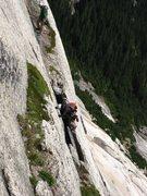"Rock Climbing Photo: traversing above the ""cave"""