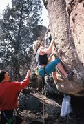 Rock Climbing Photo: bad footwork. Richard Wright belaying