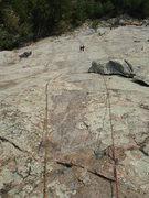 Rock Climbing Photo: Lin follows a great pitch, 9-1-09.