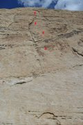 Rock Climbing Photo: Location (top is approximate) of the 4 bolts on Wh...