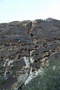 Rock Climbing Photo: Brenda at 1st pitch anchors of Ragged Edges.  Clim...