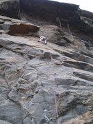 Rock Climbing Photo: Tom leading, 8-12-05.