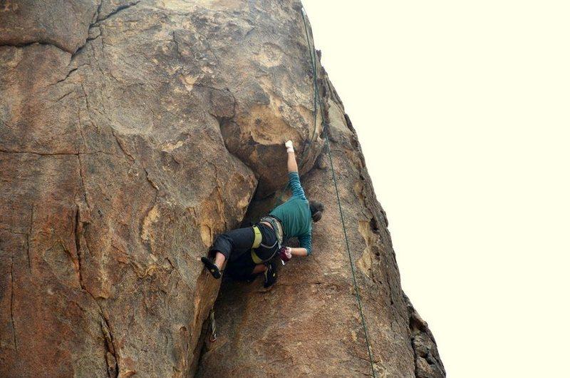Rock Climbing Photo: hillary reaching the jug at the crux