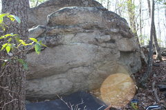 Rock Climbing Photo: Start on left with sitting start. Traverse to the ...
