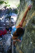 Rock Climbing Photo: Lena pulling one of the crux moves on Ignition (5....