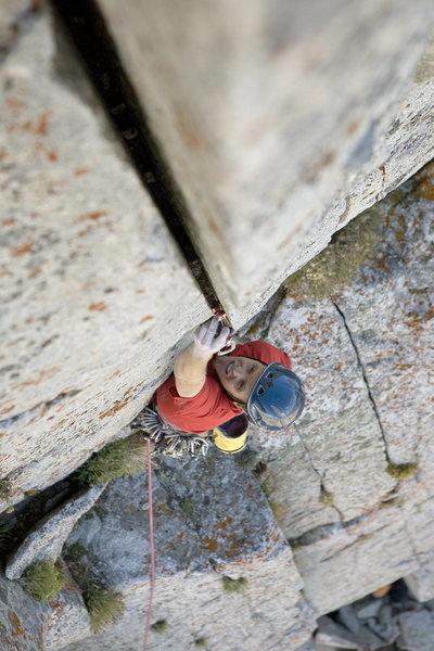 Rock Climbing Photo: Splitter on last pitch Andrew Burr Photo