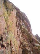 "Rock Climbing Photo: Crawl across ""Thank God"" ledge, make a s..."