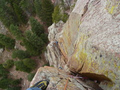 Rock Climbing Photo: Looking down from above the crux.