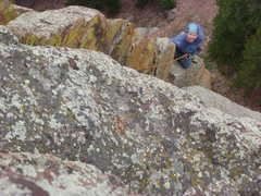 Rock Climbing Photo: Near the top of the second pitch (if done as three...