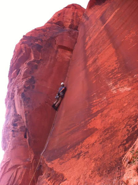 Rock Climbing Photo: Brady leads The Fox at the crack climbing clinic