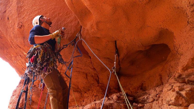 Erik starting the roof on pitch 2.  His first aid lead..ever.  Proud pitch.
