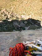 Rock Climbing Photo: Descending on double ropes to the hanging belay