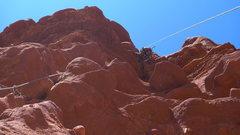 Rock Climbing Photo: Joe pulling the final roof moves.  Pretty fun