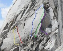 Rock Climbing Photo: Fat Boy Slim is Purple Line on Right of Crag