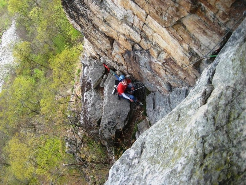 Looking down at the 4th belay on YYYY (doing it in 4 pitches reduced rope drag)