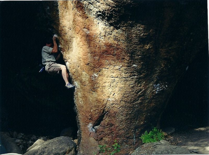 Rock Climbing Photo: A self portrait of me attempting this line in 99',...