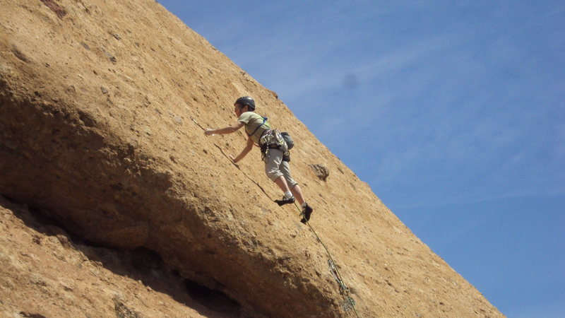 """Rock Climbing Photo: Leader just past the crux of """"Hyperion"""" ..."""