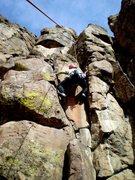 Rock Climbing Photo: Deb going through the somewhat awkward start.