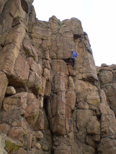 Rock Climbing Photo: Deb on the interesting barndoor move.