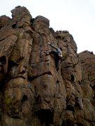 Rock Climbing Photo: Chris getting a nice heel hook.