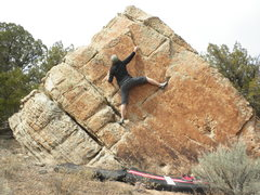 Rock Climbing Photo: Baby-mama puttin' the english on it.