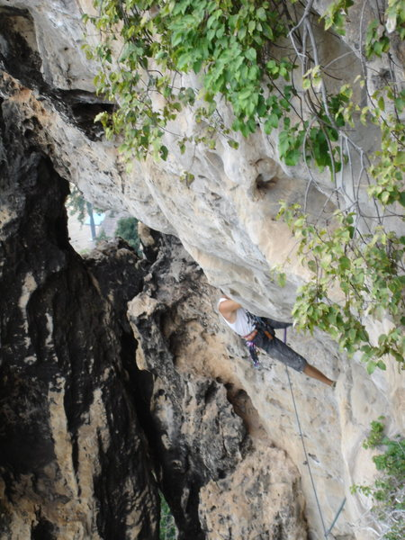 Greg Collum starting out the steep roof on the crux 3rd pitch
