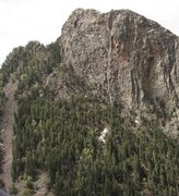 Rock Climbing Photo: We headed up the obvious boulder field on the far ...