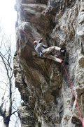 Rock Climbing Photo: Starting the crux on The Chopping Block, 5.12b