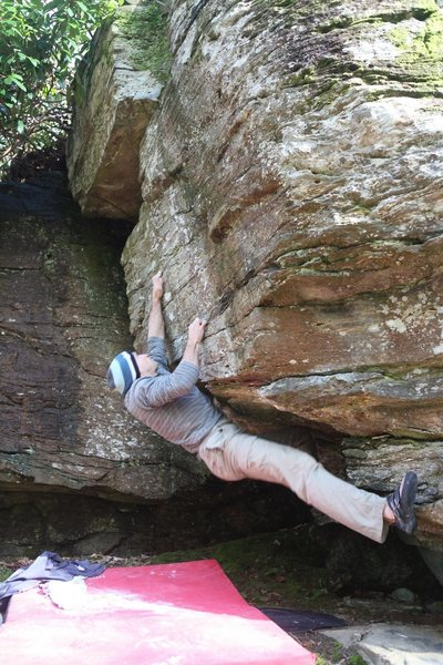 Rock Climbing Photo: Mike locks of and reaches the better crimps on The...