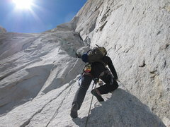 Rock Climbing Photo: Early pitches of the Kearney-Harrington route on S...