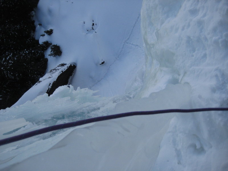 Looking down from 1st pitch belay to base.