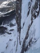 Rock Climbing Photo: Jeff leading The Replicant in WI6+ conditions. Loo...