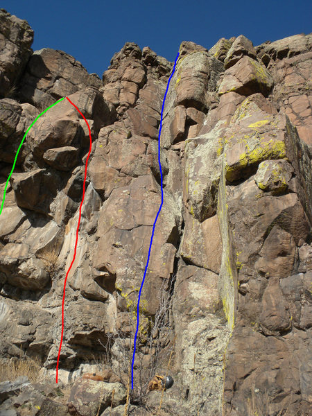 Rock Climbing Photo: Green - Sinister Minister. Red - Rope Trick. Blue ...