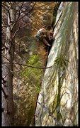 Rock Climbing Photo: Matt Kuehl cruises through the strenuous liebackin...