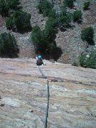 Rock Climbing Photo: Jess coming up pitch 1.