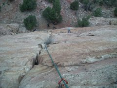 Rock Climbing Photo: Just leaving the crack back to the face on the las...