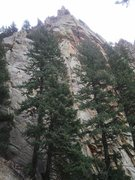 Rock Climbing Photo: Waiting Room (between the trees) with its obvious ...