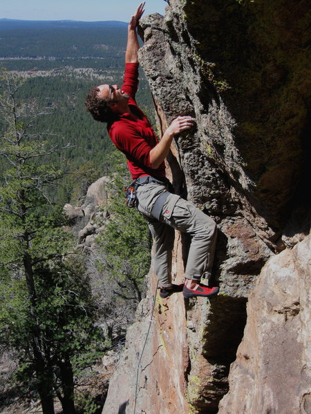 Rock Climbing Photo: Dean near the top of the Sundial 5.10+, Sailing Wa...
