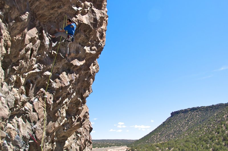 Heath setting up to head into the crux of the route.
