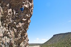 Rock Climbing Photo: Heath setting up to head into the crux of the rout...
