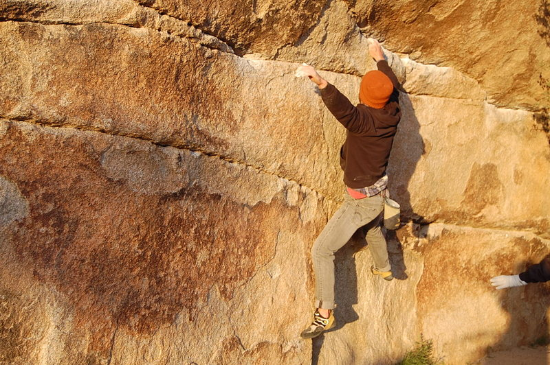 Rock Climbing Photo: Nailing the short person crux.
