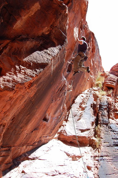 Rock Climbing Photo: Bryan Bell holding on to get his flash of Rebel Wi...