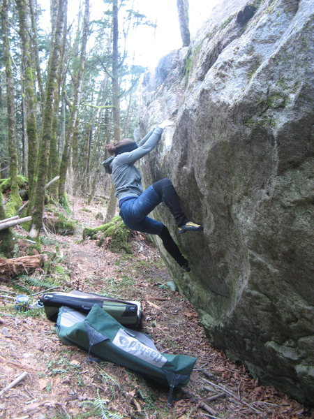 Rock Climbing Photo: Kelly on Stand Alone (V2)